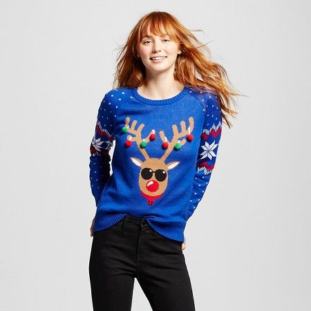 Womens Reindeer Pom Poms Ugly Christmas Sweater Blue Lol