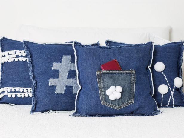 Funky Girl's Room Decor: Denim and Pompom Pillows