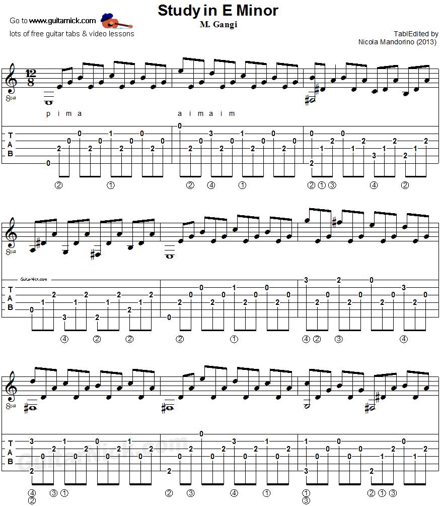 Study In E Minor Gangi Guitar Tablature Sheet 1 Musicguitar