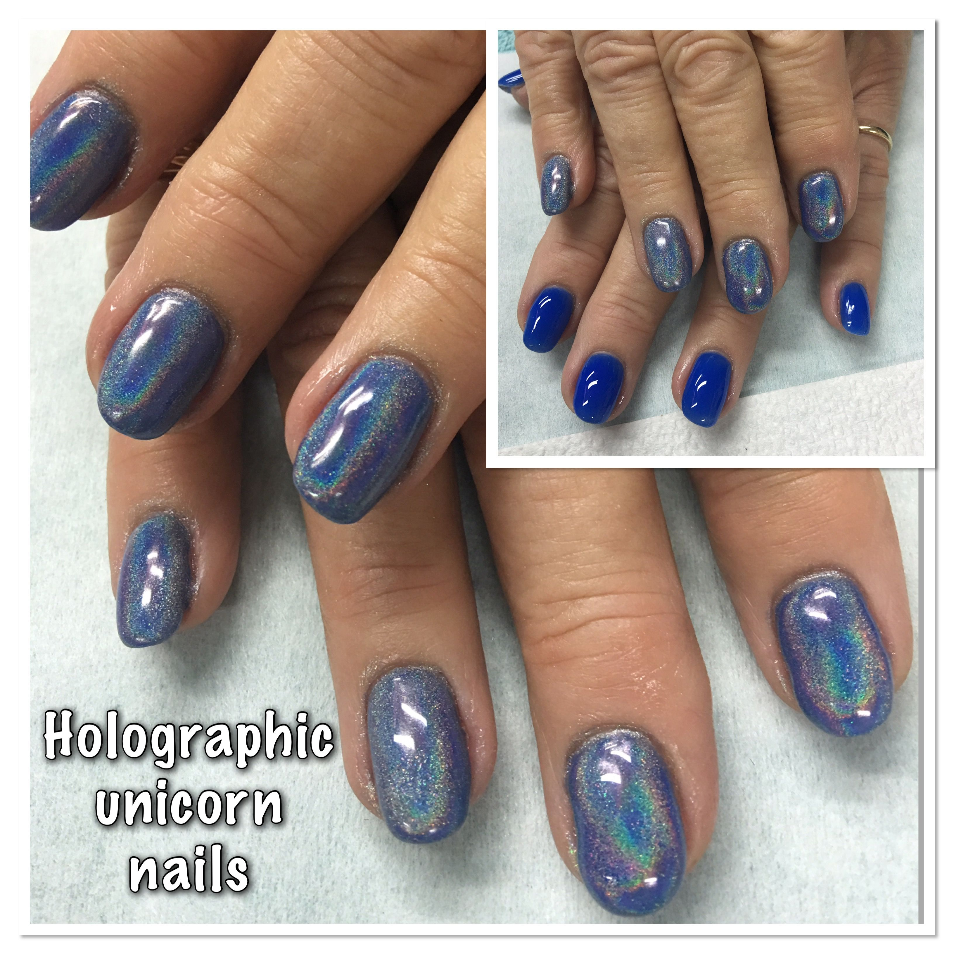 blue holo chrome unicorn effect
