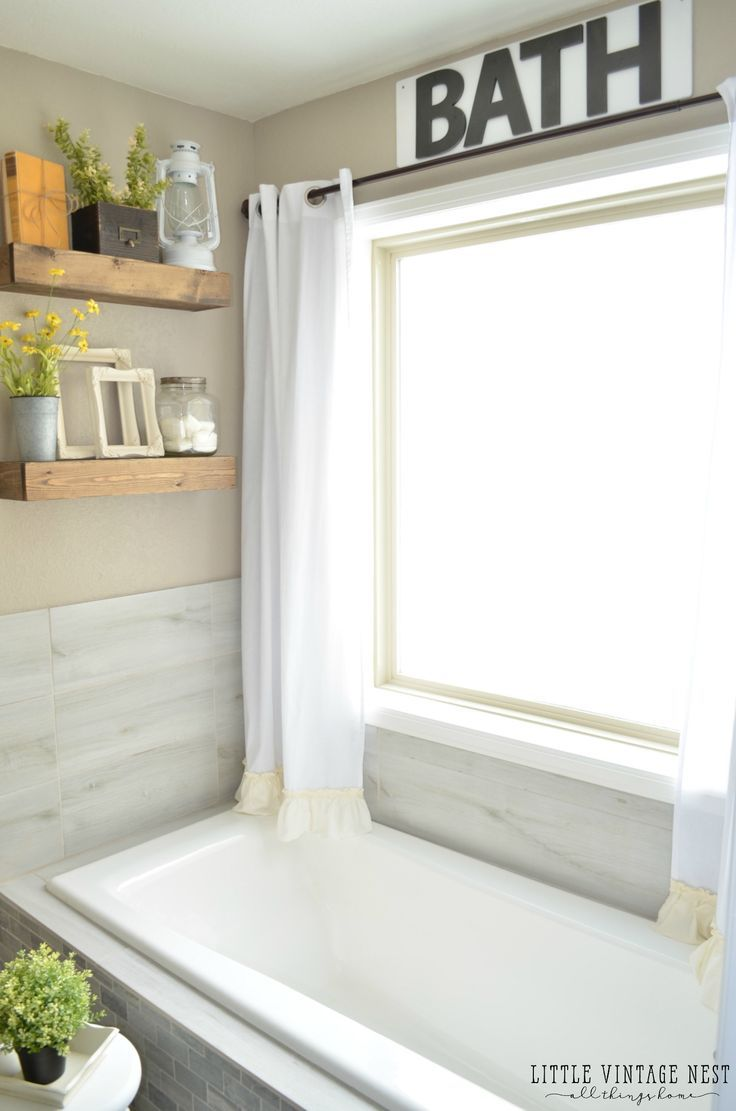 No Sew Farmhouse Curtains  Badezimmer ohne fenster, Bad styling