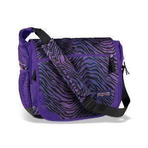 608bd00f60 Amazon.com  JanSport Elefunk Printed Messenger Bag (Black Prism Purple  Flashback Zebra)  Clothing