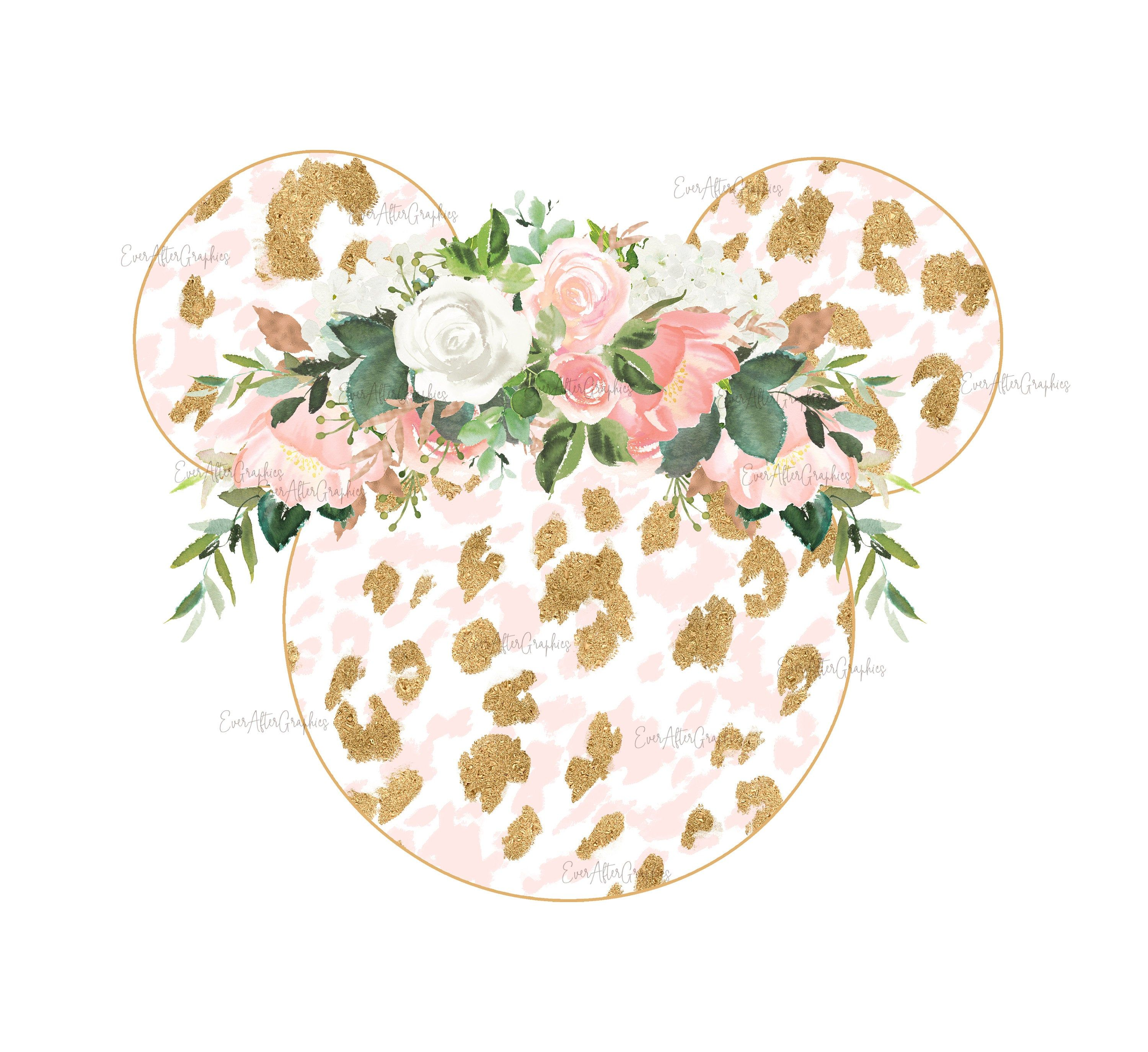 Photo of Leopard Floral Mouse Ears, Floral Minnie, Minnie mouse, Digital image, Minnie Sublimation Design, Mickey Mouse, Disney flower png, jpg