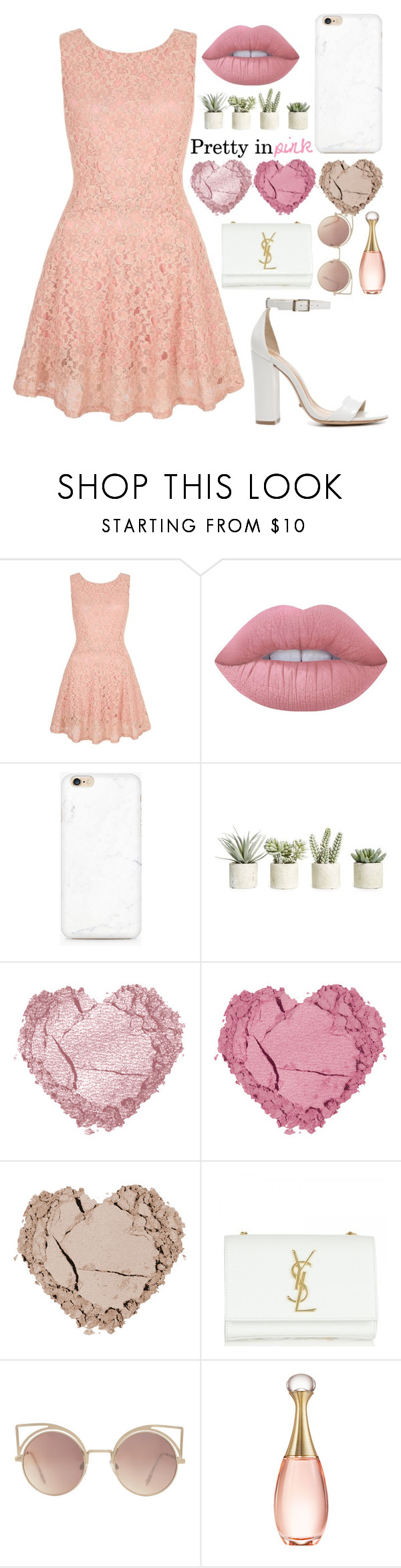 """""""Chic Coral"""" by lilleopard123 ❤ liked on Polyvore featuring Yumi, Lime Crime, Allstate Floral, Yves Saint Laurent, MANGO, Christian Dior and Schutz"""