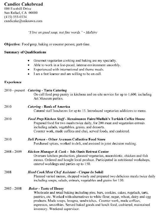 Resume Outline Examples Prep Chef Resume Sample  Httpresumesdesignprepchef