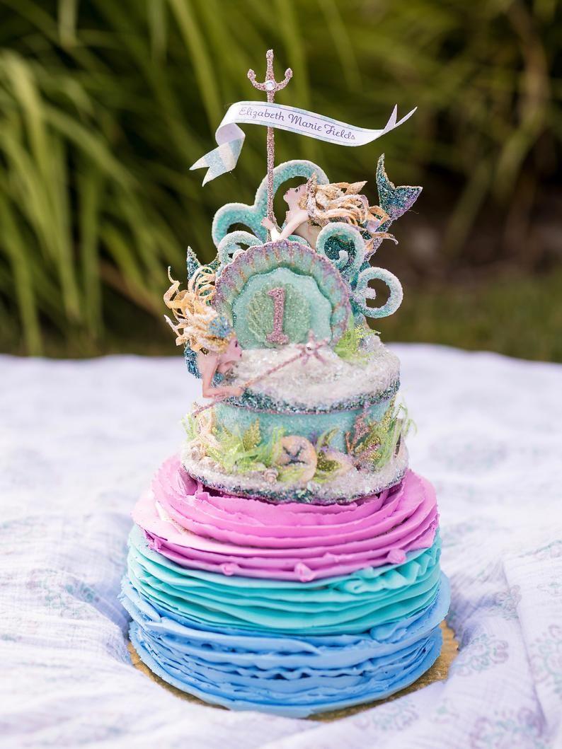 Custom mermaid 1st birthday cake topper birthday topper