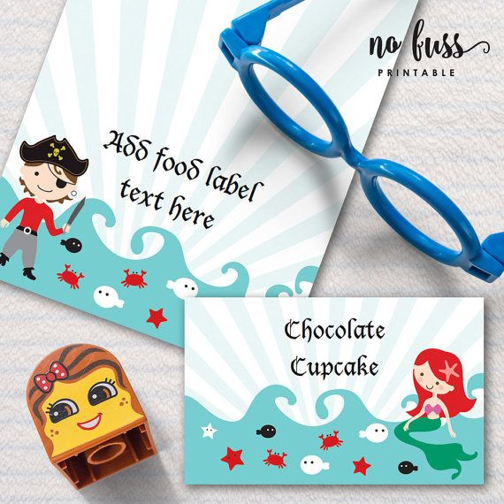 pirate and mermaid party food label tents card by nofussprintable