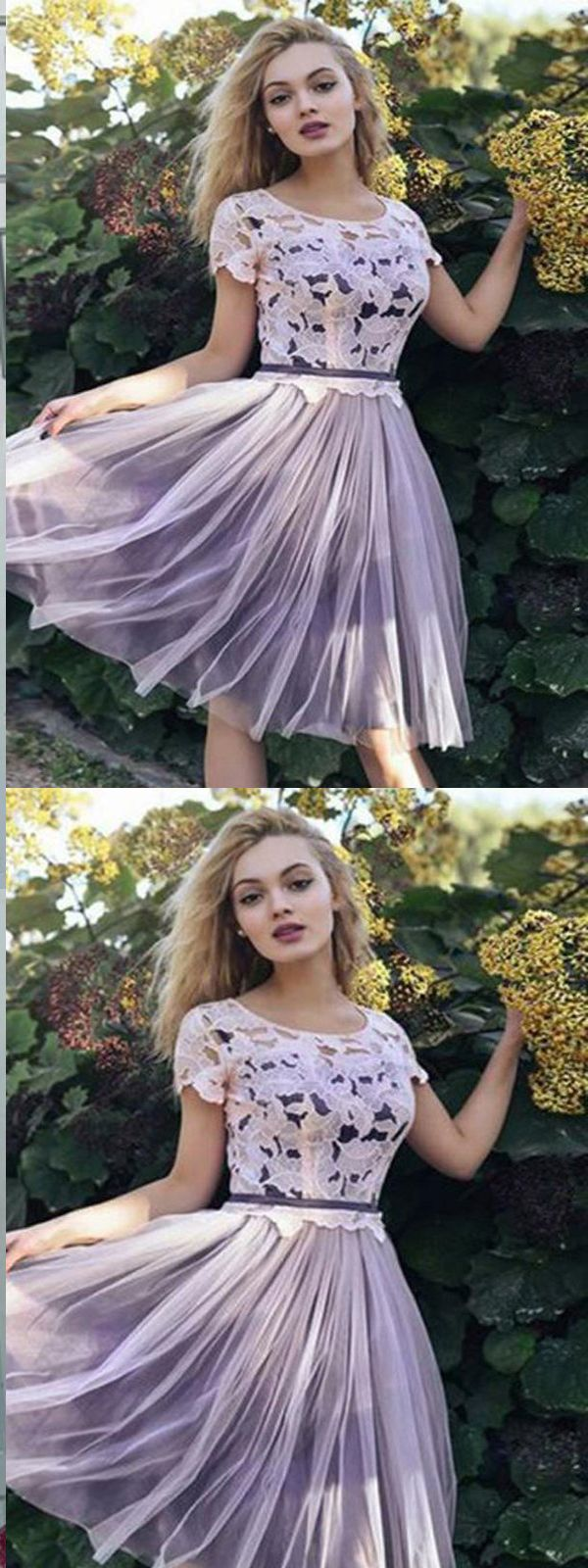 Purple lace homecoming dressshort sleeves prom dresses cheap short