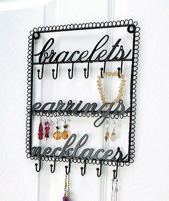 Black Metal Wall Hanging Jewelry Holder Organizer Bracelets Earings