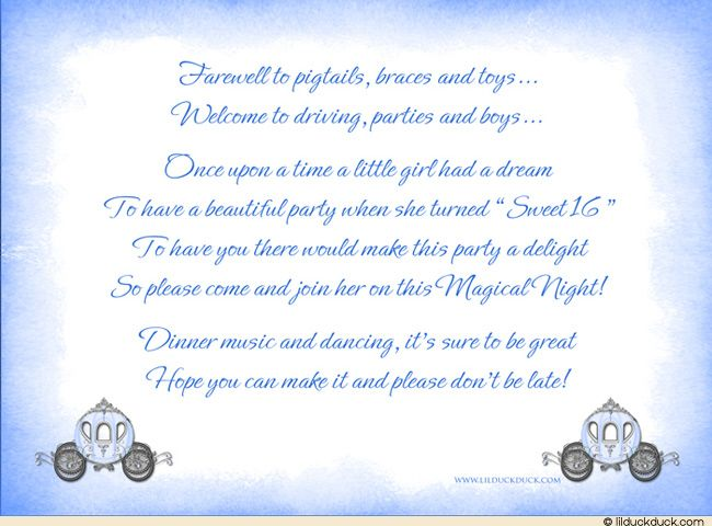 Sweet 16 Invitation Wording Aurora Cinderella Sweet 16 Theme