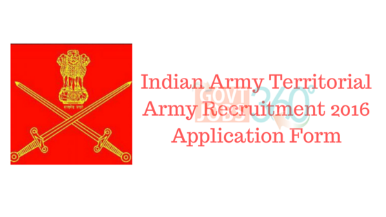 Indian Army Territorial Army Recruitment 2016 Application Form