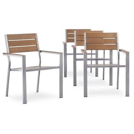 Bryant 4 Piece Faux Wood Patio Cafe Chair Set Threshold Y Ash