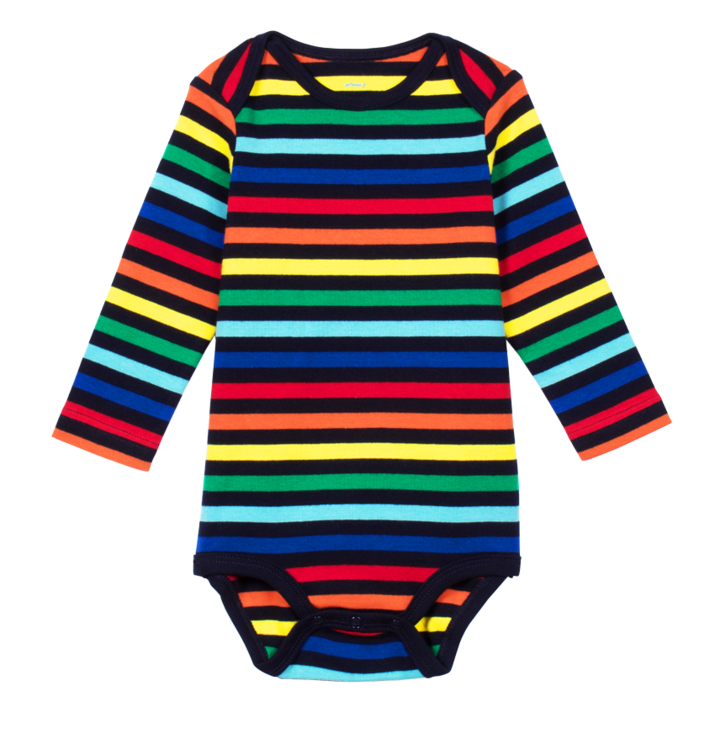 e7e6bf63da735 child wearing the long sleeve stripe babysuit in baby size 9-12 and color  rainbow-navy