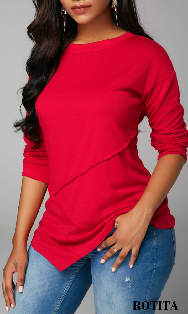 c7f7847002d1a Drop Shoulder Crew Neck Asymmetric Hem Blouse .Fashion sexy blouse are  waiting for taking home by fashion ladies