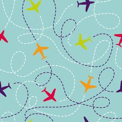 Seamless Pattern With Airplanes Vector Background With