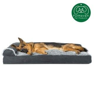 FurHaven Pet Bed | Two-Tone Faux Fur & Suede Deluxe Chaise Lounge Pillow Sofa-Style Dog Bed