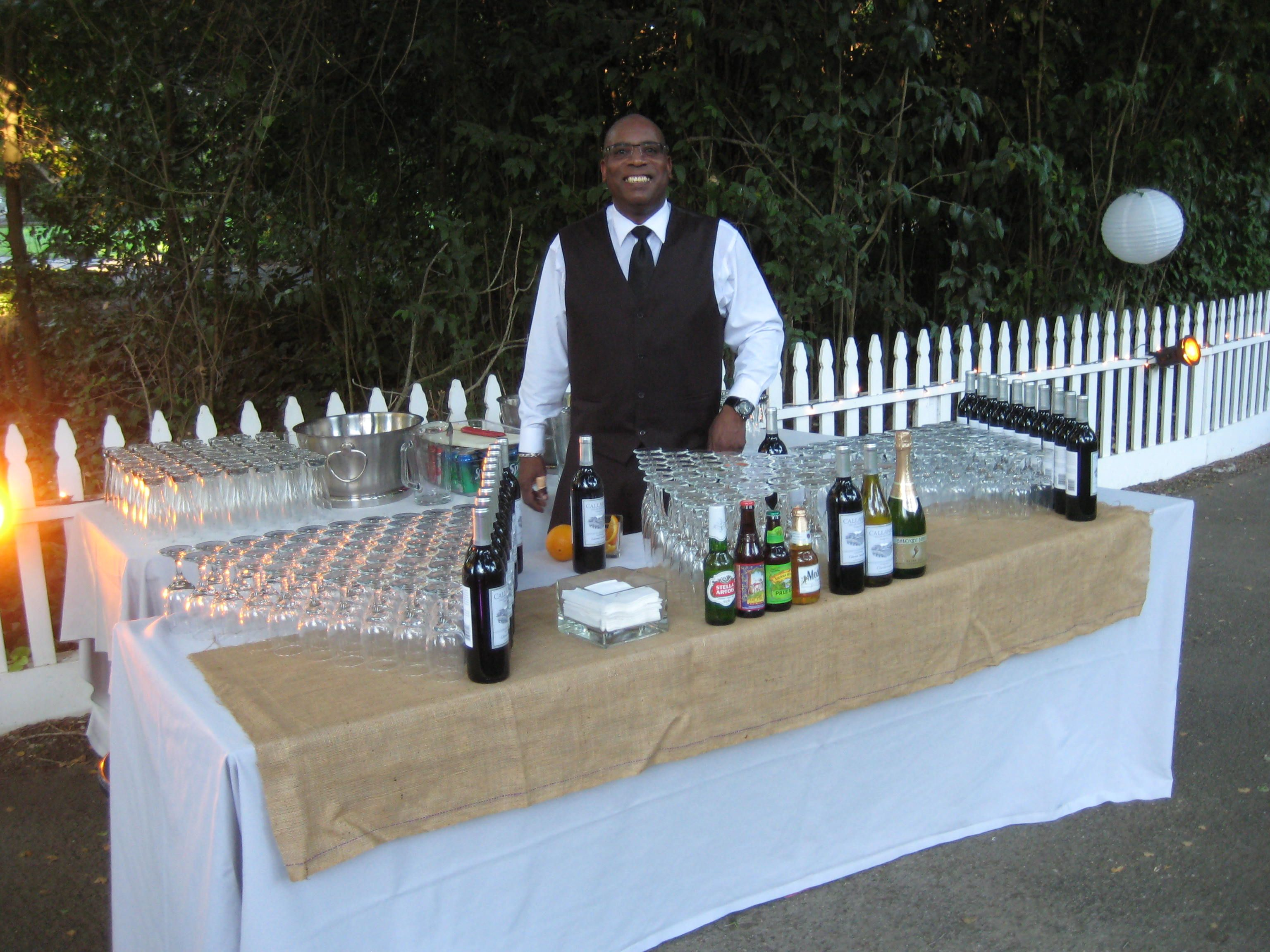 Wine Beer Champagne Bar Setup With Our Burlap Accent