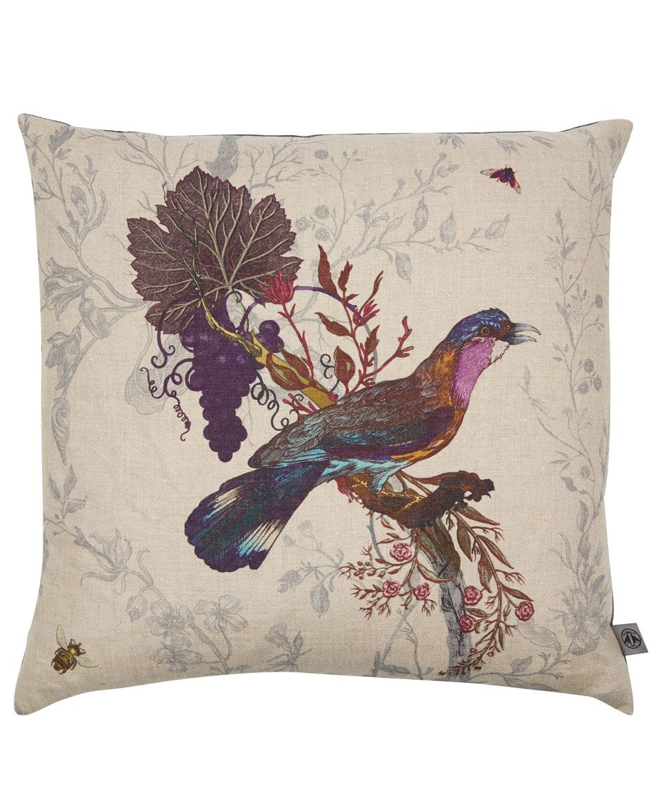 Timorous Beasties Grey Birds and Bees Roller Cushion | Cushions by Timorous Beasties | Liberty.co.uk