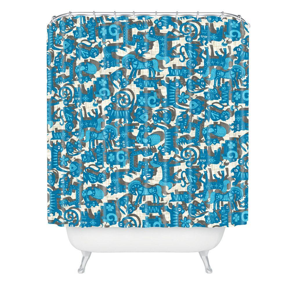 Sharon Turner Chinese Animals Blue Shower Curtain Deny Designs