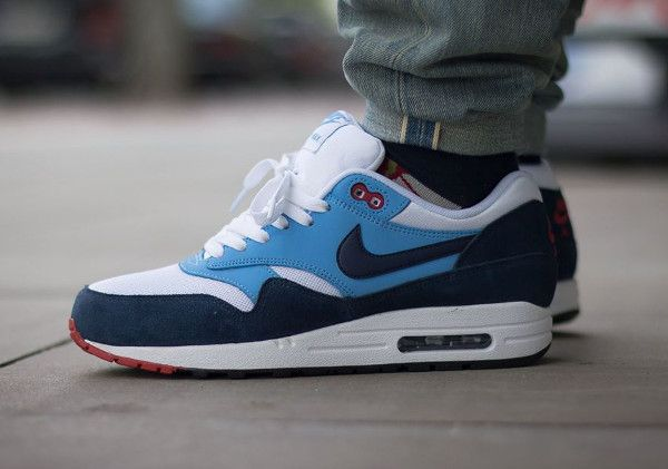 Air Max 1 Essentiel Carreaux Blanc Rouge Marine