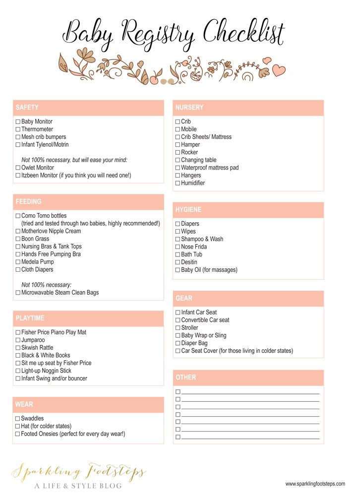 Best Baby Registry List  Free Printable Checklist  Baby Registry