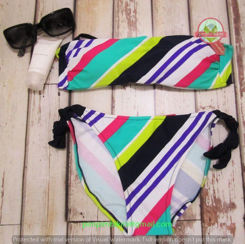 Size: Free size  Bust size: 32-38 No. Produk: 30101510055 Basic color: Putih garis  Model: Bikini - two piece  Fabric: Nylon - Polyester  Price: Rp. 110.000,- -------------------------------------- Contact: (e): pimpimbikini@gmail.com (p): +628176611176 / +628121057360
