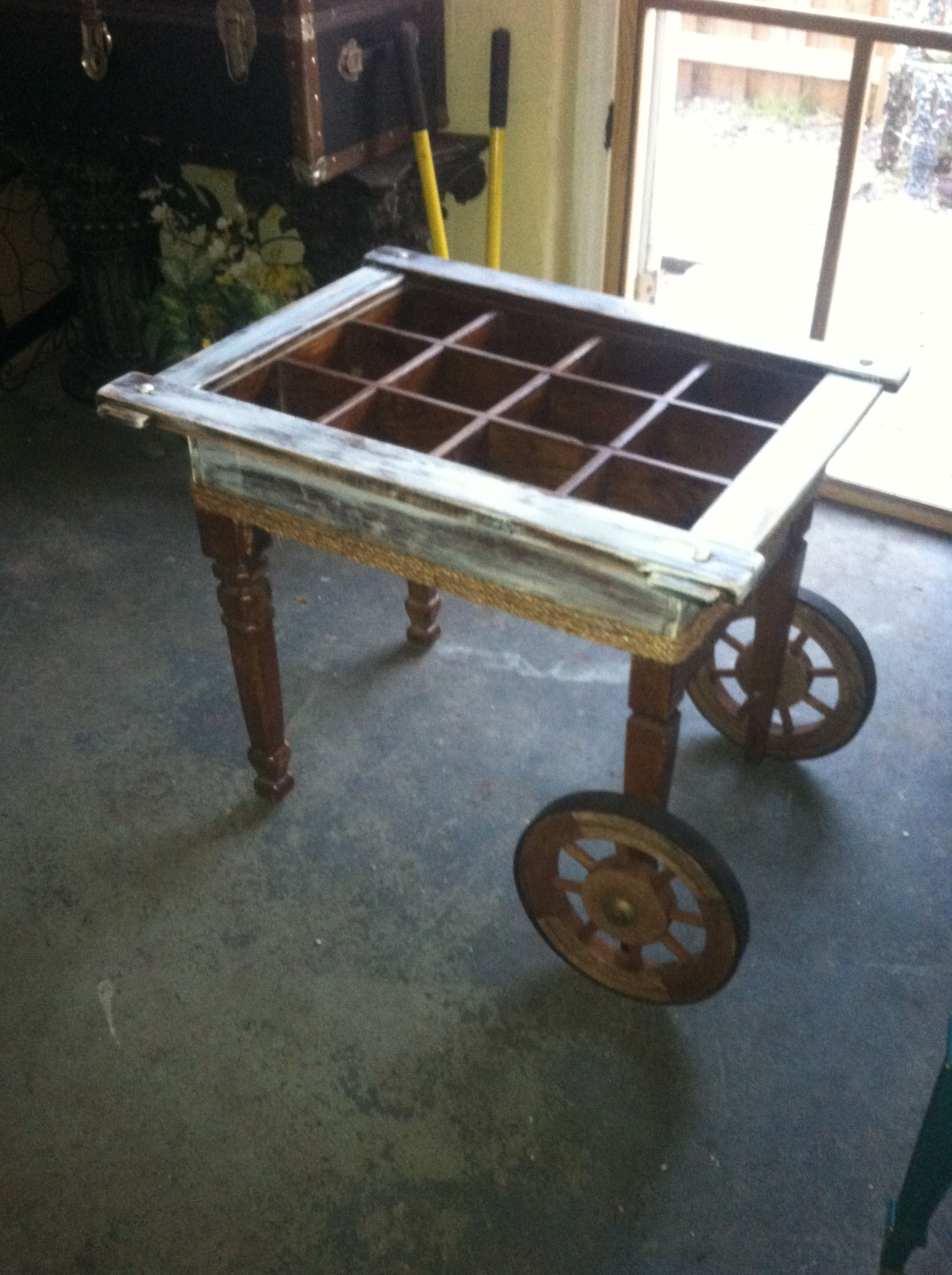 Vintage Rolling Coffee Side Table Custom Made From Lots Of Parts