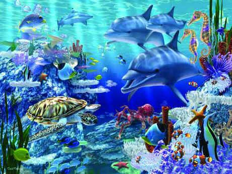Life picture ocean animals underwater puzzle sea life for Mural fish in tamil
