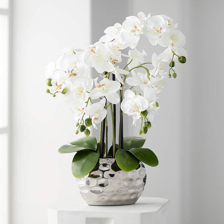 White Phalaenopsis 23 H Faux Orchid In Silver Ceramic Pot 7g585 Lamps Plus In 2020 Silk Orchids Silk Orchids Arrangements Orchid Arrangements