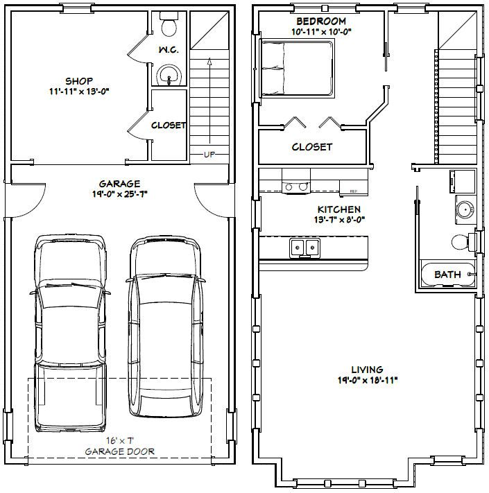 20x40 House 20X40H8C 987 sq ft Excellent Floor Plans – 28X32 Garage Plans