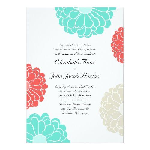 Turquoise & Coral Zinnia Flower Wedding Invitation | Zazzle.com #turquoisecoralweddings