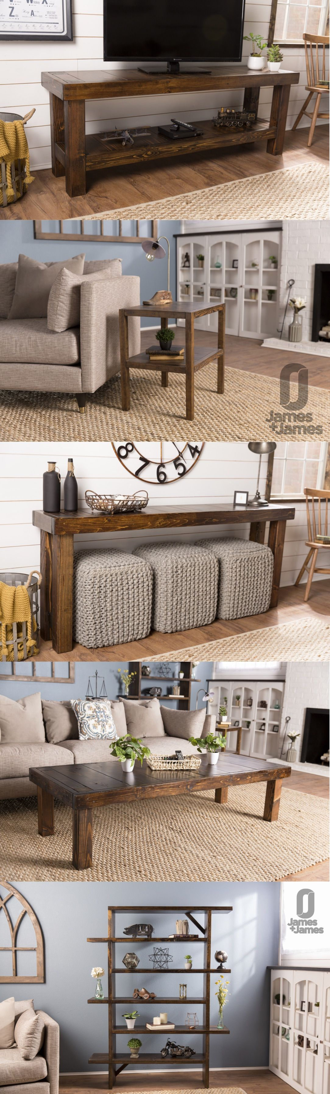 James james solid wood handcrafted living room furniture media console tv