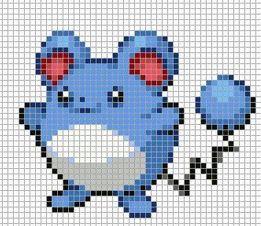 Marill Pokemon Sprite Grid Pixel Art Grid Pixel Art