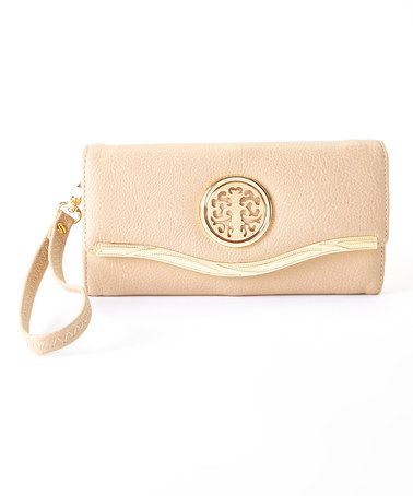 Look what I found on #zulily! Beige & Gold Trim Clutch by MKF Collection #zulilyfinds