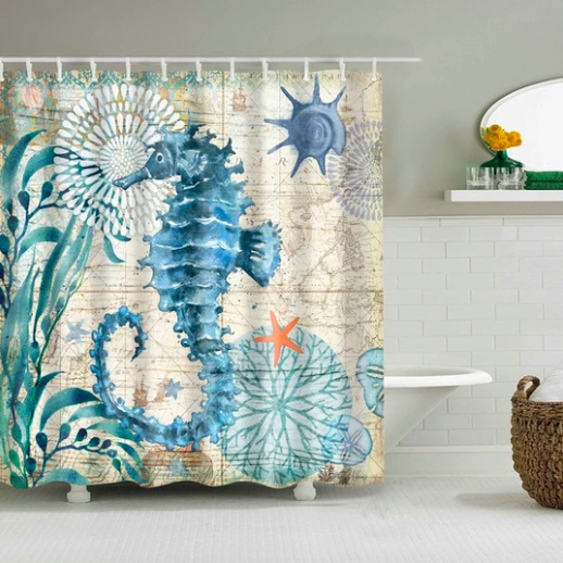 Rustic Seahorse Fabric Shower Curtain Fabric Shower Curtains