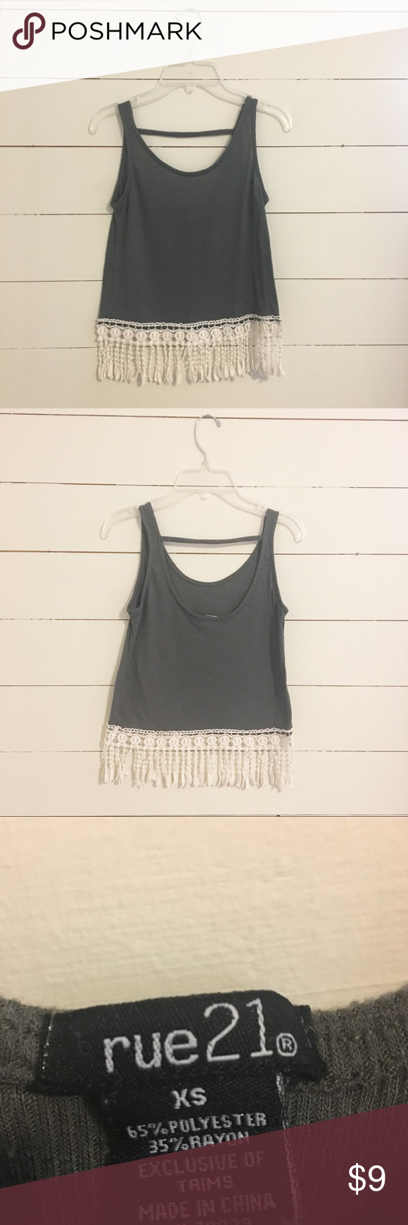 6267a3e3e6f75b Rue 21 Olive Crop Top with Lace Fringe XS Rue 21 Olive Crop Top with Lace  Fringe Detail XSmall Good condition. SmokeFree home. Rue21 Tops Crop Tops