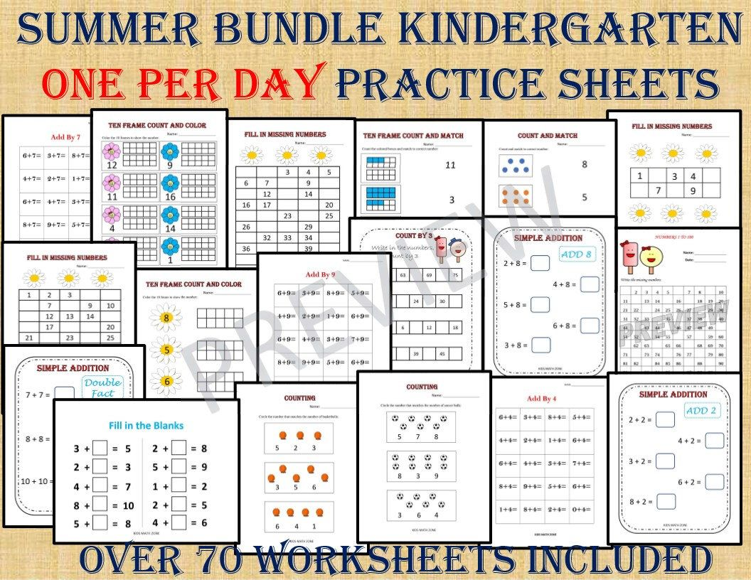 Summer Bundle Kindergarten One Per Day Over 70