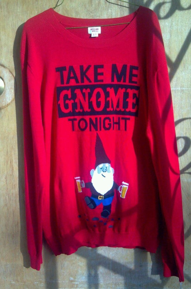 Nwt Ugly Christmas Sweater Take Me Gnome Tonight Drunk Beer Party