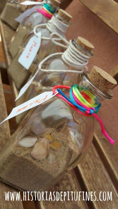 botellitas de cristal con arena y conchas diy manualidades playa