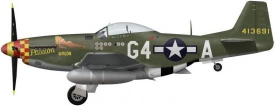 P-51D-5-NA s/n 44-13691 «Passion Wagon»-майор Arval J. Roberson - 362nd FS, 357 FG
