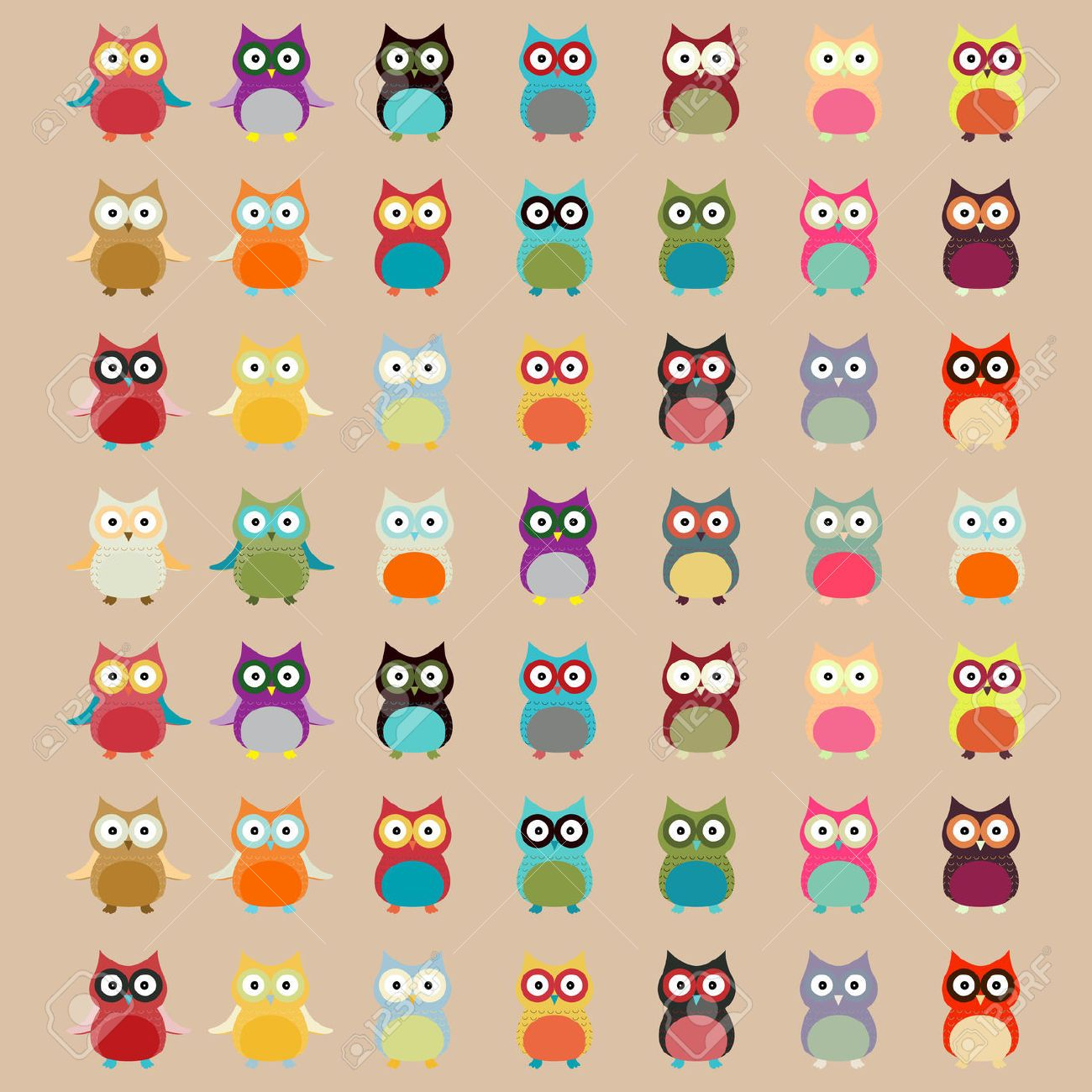 Cute Colorful Owl Pattern Vector Background Royalty Free Cliparts ...