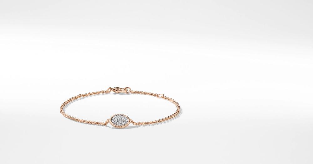 Cable Collectibles Bracelet With Diamonds In 18k Rose Gold David Yurman Birthday Bracelet 18k Rose Gold Bracelets