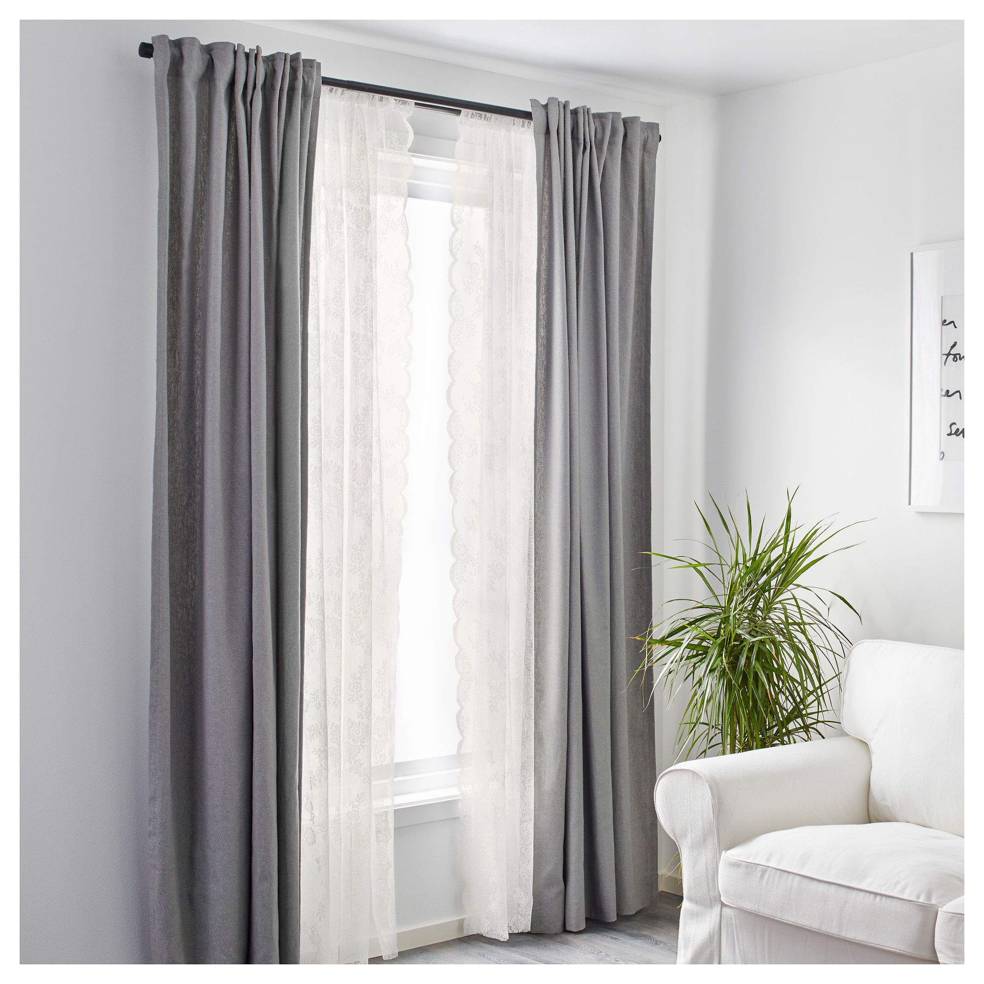 IKEA - ALVINE SPETS Lace curtains, 1 pair off-white | White cottage ... for Off White Bedroom Curtains  56mzq
