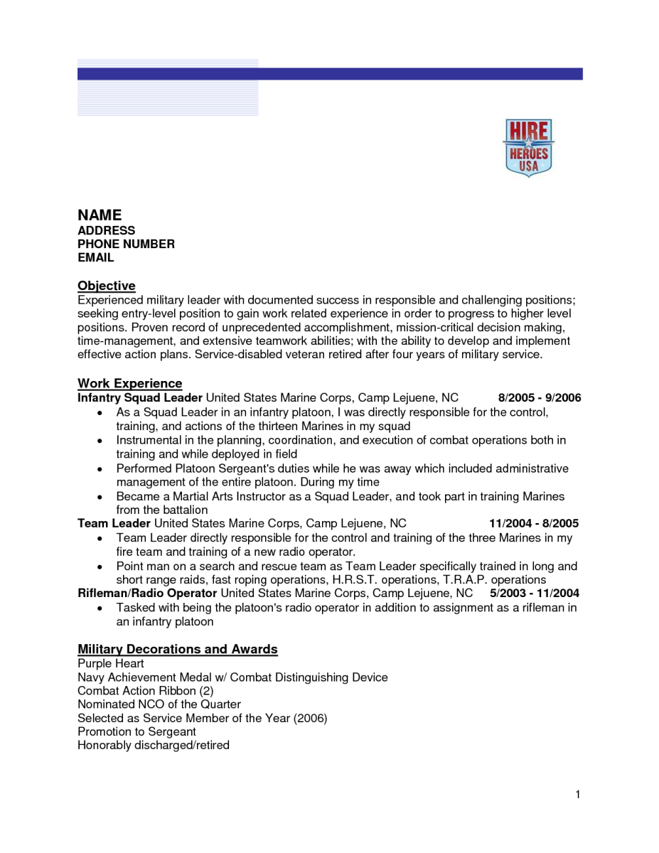 infantry resume examples - Army To Civilian Resume Examples