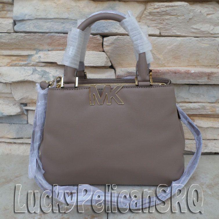 a6d5f5e4bdad7 Michael Kors Florence Small Bag Crossbody leather MK logo Dark Dune Beige  NWT  MichaelKors  Satchel