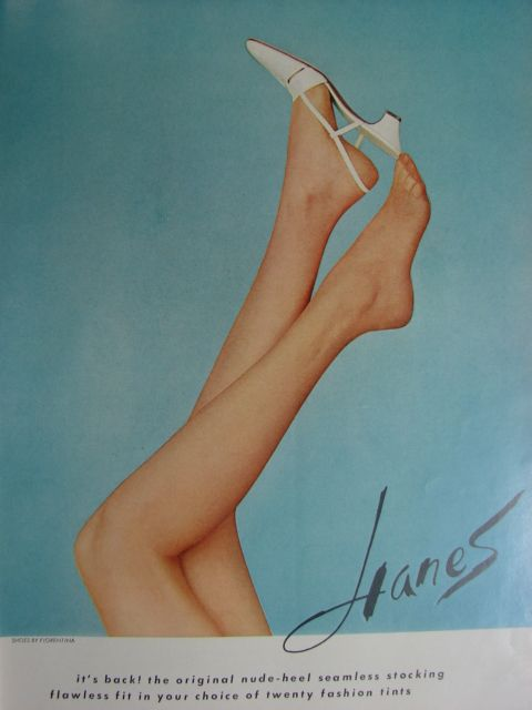 Classic 60s Hanes nylons stockings vintage hosiery ad with very shapely legs