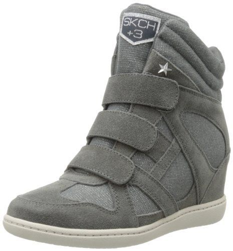 Skechers Women's Plus 3-Shine Bright Fashion Sneaker,Charcoal,7.5 M US (887047885636) A trio of hook-and-loop straps compliments three layers of collar cushioning in this lightly shimmering high-top.