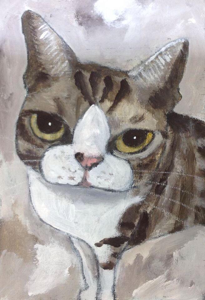 Tetsuo Takahara Cats Illustration Cat Painting Cat
