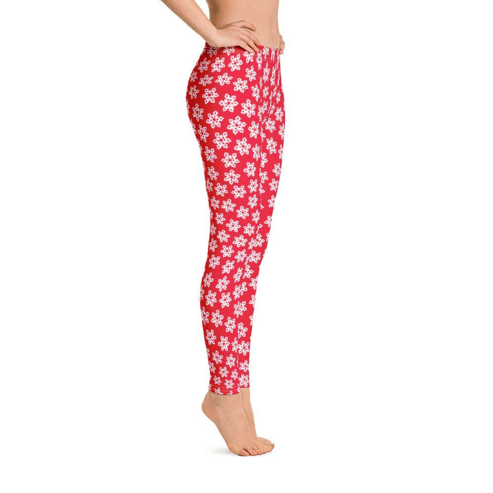 Snowflake leggings for women christmas leggings red leggings