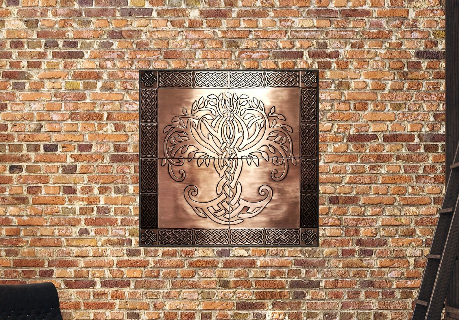 Large Unique Beautiful Celtic Tree Of Life Set Of 24 Handmade Tiles 100 Copper In 2020 Handmade Tiles Celtic Tree Of Life Painting Plastic